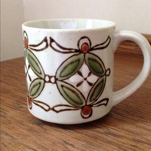 Vintage 1970s stoneware folk pottery mug